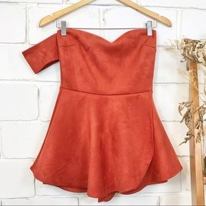 NWOT One-Shoulder Skort Romper